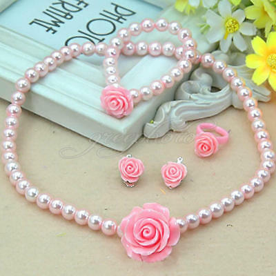 Kids Necklace Bracelet Ring Ear Clips Set Jewelry Girls Jewelry Accessories