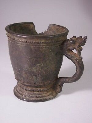 Antique Burma Khmer Period 13Thc. Bronze Cup