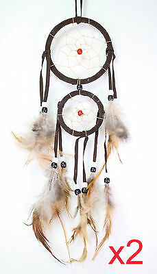 Set of 2 Brown Handmade Dream Catcher With Feathers Wall Hanging Decoration Gift