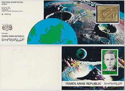 Yemen 1968 ** Mi.717 A Weltraum Space Komarow Gold foil stamp in Folder