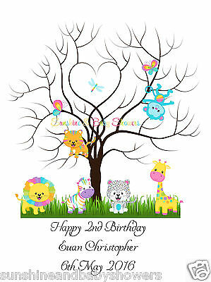Finger Print Tree RAINBOW ANIMALS Birthday PERSONALISED A3 OR A4 INCLUDES INK