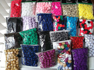 """1/2"""" (12mm) FLUFFY  POM POMS - 23 COLOURS - CHOICE OF 3 PACK SIZES"""