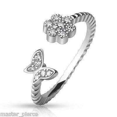 TJS .925 Sterling Silver Adjustable Toe Ring with CZ Paved Flower and Butterfly