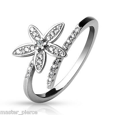 .925 Sterling Silver Adjustable Toe Ring Double Lined CZ & Paved 5 Petal Flower