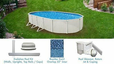 Esprit 12' x 18' FT Oval Above Ground Swimming Pool with Liner and Skimmer