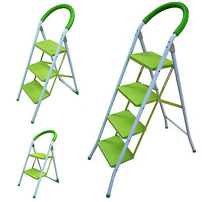 2/3/4 Folding Green Step Ladders Lightweight Non-Slip Scaffold Steel Diy Tools