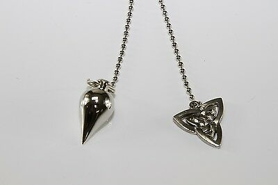 Silver-Toned Triquetra Pendulum Wicca Witch Reiki Goth Pentacle Dowsing NEW