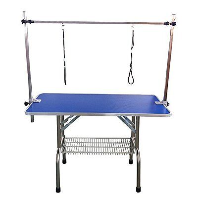 BUNNY BUSINESS Adjustable Portable Stainless Steel Dog Grooming Table with Arm x