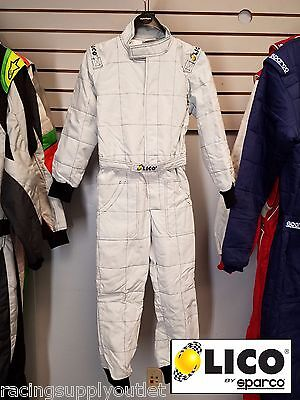 Sparco/Lico  Go Kart Racing Suit   FIA  Silver Youth Size 120  [In the USA]