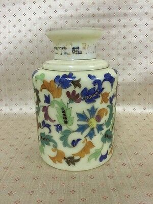 "Antique Russian Glass And Enamel Painted Bottle With Inscription 7"" Tall"