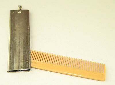 Antique Sterling Silver Folding Pocket Moustache Comb Watch Fob Charm Engraved