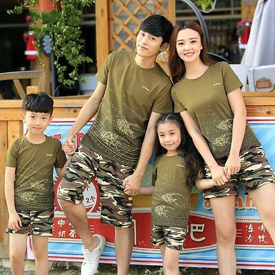 Summer Family Matching clothing Army Green camouflage Parent child sets outfits