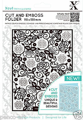 Xcut A6 Cut and Emboss combination die cutting & embossing folder FLORAL PATTERN
