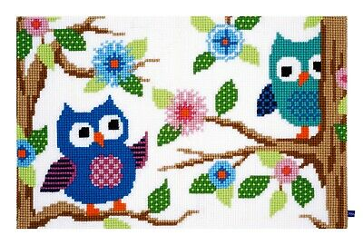 OWL TALK RUG LARGE HOLE TAPESTRY CANVAS CROSS STITCH KIT by VERVACO, BRAND NEW