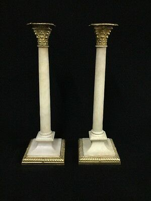 18th Century French Gilt Bronze And Alabaster Candlesticks