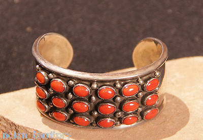 Navajo Indian Bracelet with 18 Ox Blood Coral Stones