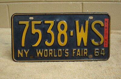 NEW YORK NY LICENSE PLATE - 1964-65 WORLDS FAIR w/1965 STICKER # 7538-WS