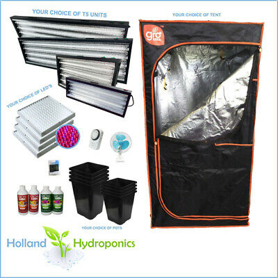 Hydroponics Setup Kit LED T5 24/54w 6400k Grow Light Grow Tent Nutrient Fan