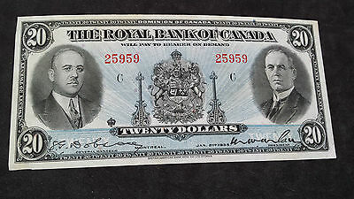 1935 Royal Bank Of Canada Twenty Dollars $20 Banknote..Coins