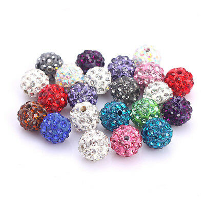 20X 8mm Quality Czech Crystal Rhinestones Pave Clay Round Disco Ball Spacer Bead
