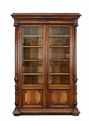 1111025 :Large Antique French Renaissance Carved 2 Door Bookcase Cabinet