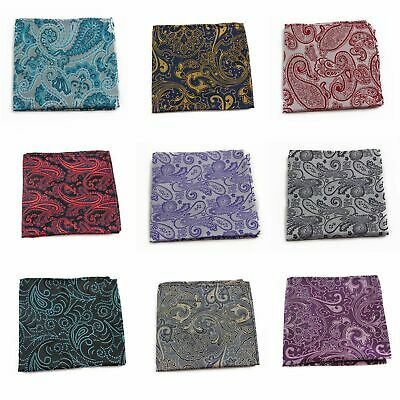 100% Silk Mens Boho Paisley Pocket Square Hanky Handkerchief + Black Bow Tie