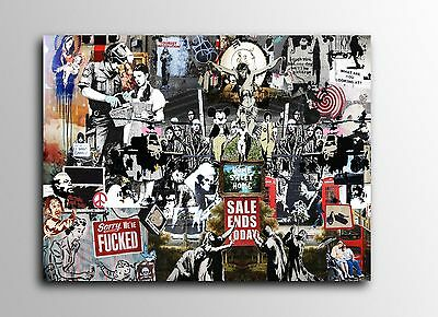 ACEO Banksy Collage Graffiti Street Art Canvas Giclee Print