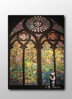 ACEO Banksy Stained Glass Cathedral Graffiti Street Art Canvas Giclee Print
