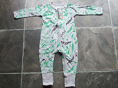 BNWT Baby Boy's Bonds Grey, Green & Black Zip Wondersuit/Coverall/Sleeper Size 0