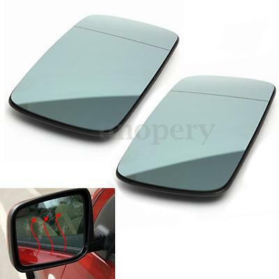 Pair For BMW E46 98-05 Blue Tinted Heated Door Wing Mirror Glass Left & Right