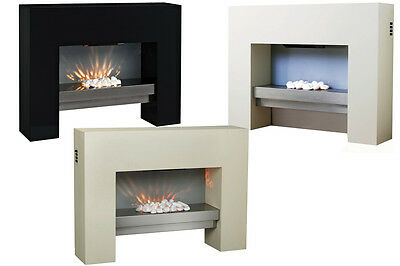 Floor Standing Wall Mounted Mdf Surround Electric Fire Flame Mantel Living Room