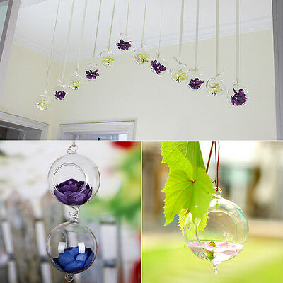Hydroponics Hanging Glass Flower Grass Vase With Hook Candle Holder Decoration