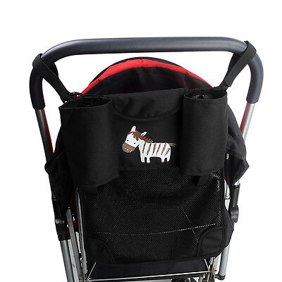 Hot Stroller Organizer Net Cup Holder Pushchair Pram Diaper Bag+Pocket 33*40Cm