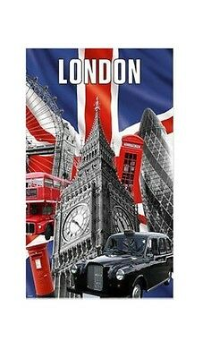 Capital London Tea Towel Souvenir Gift Union Jack Big Ben Black Taxi Red Bus UK