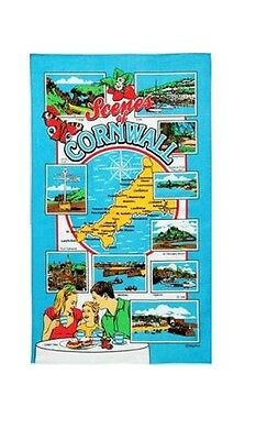 Scenes of Cornwall Tea Towel Souvenir Gift Lands End Loos Truro Cathedral Map