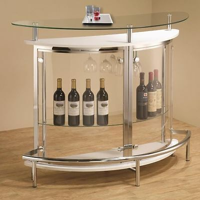 Contemporary White Bar Unit with Smoked Acrylic Front by Coaster 101066