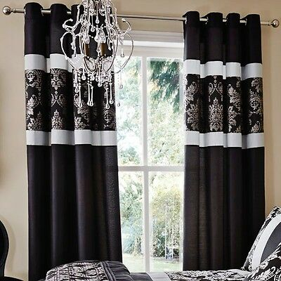 Catherine Lansfield Black/Grey Glamour Jacquard Baroque Lined Eyelet Curtains