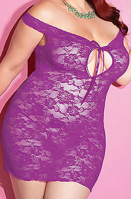 Ladies Plus Size Purple Lace Babydoll With Thong Lingerie Nightwear XL 3XL