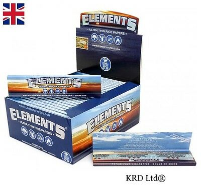 Genuine ELEMENTS KING SIZE SLIM Cigarette Rolling Papers Booklets 50 Full Box