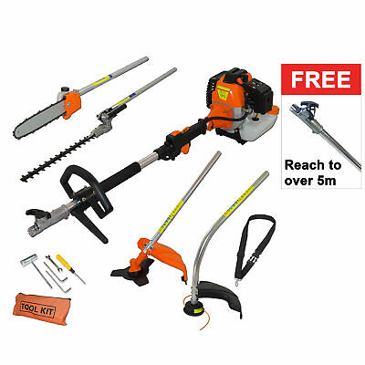 Fox 6 in1 Petrol 52cc Hedge Trimmer Chainsaw Grass Trimmer Brush Cutter 1m Pole