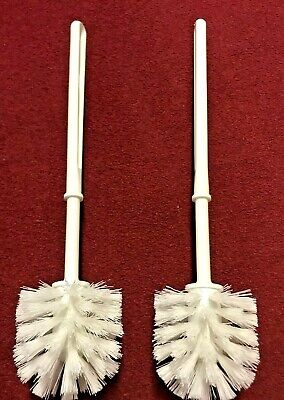 2 X White Plastic Toilet Brush, Replacement, Good Quality