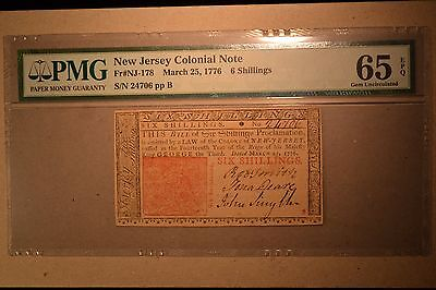 New Jersey Colonial- March 25, 1776 6s-  PMG Gem Uncirculated 65 EPQ.