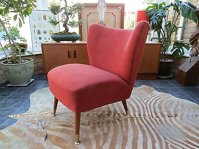 A Red Vintage East German Bartholomew Cocktail Chair C1965 A16/24 Re-Covered