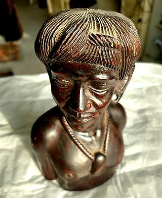 One of a kind Vintage Wood Tribal Male Bust