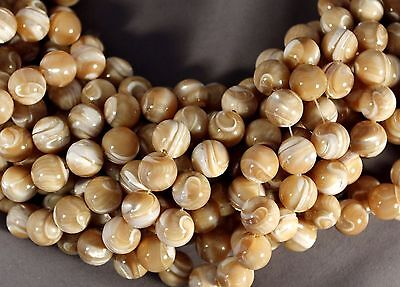 "Lustrous Aura Natural Mother Of Pearl Shell 12Mm Round Beads 15.5"" Str"