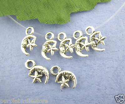Silver Star Moon Charms, 12mm, 25 Pieces, S00448, Tiny Charms