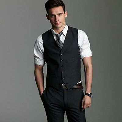 Men's Spring Autumn Formal 2 Piece Black Party Suits Custom made Vest And Pants