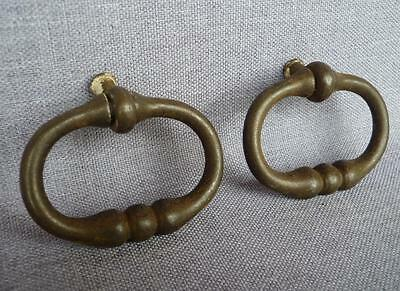 "2 Antique french drawer handles early 1900's made of cast iron named ""goutte"""