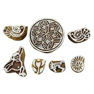 Wooden Textile Stamps Lot Of 7 Pcs Handcarved Stamp For Clay Printing Block