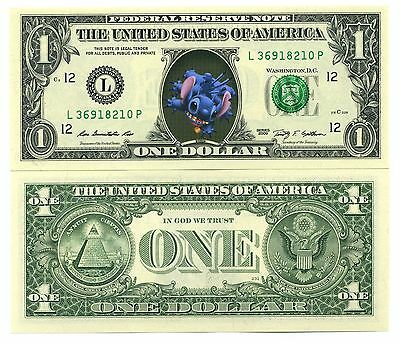 STITCH! VRAI BILLET de 1 DOLLAR US! Collection Personnage Walt Disney Lilo et #2